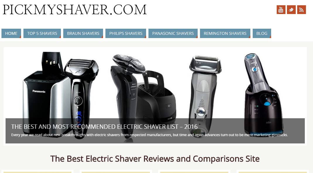 PickMyShaver -Amazon Affiliate Website Example