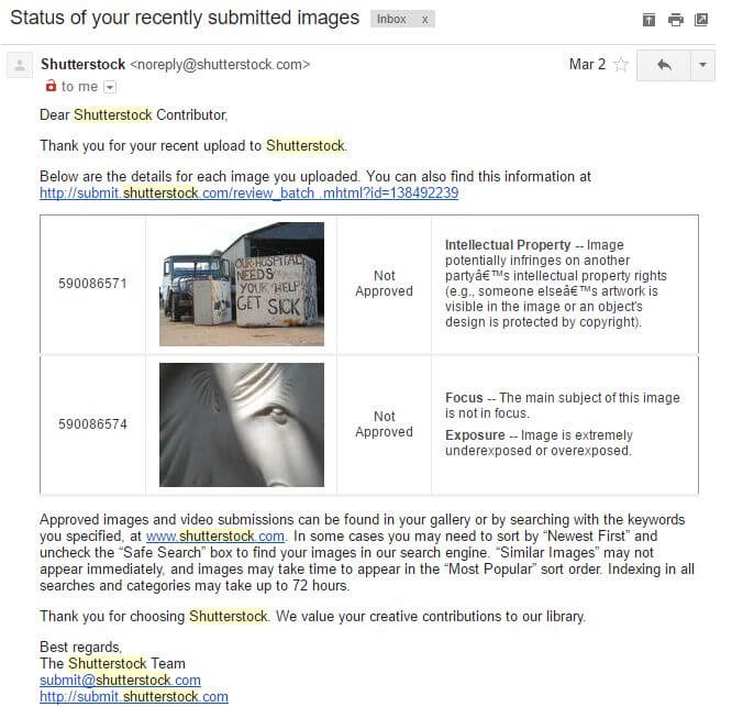 Shutterstock Rejection Email2