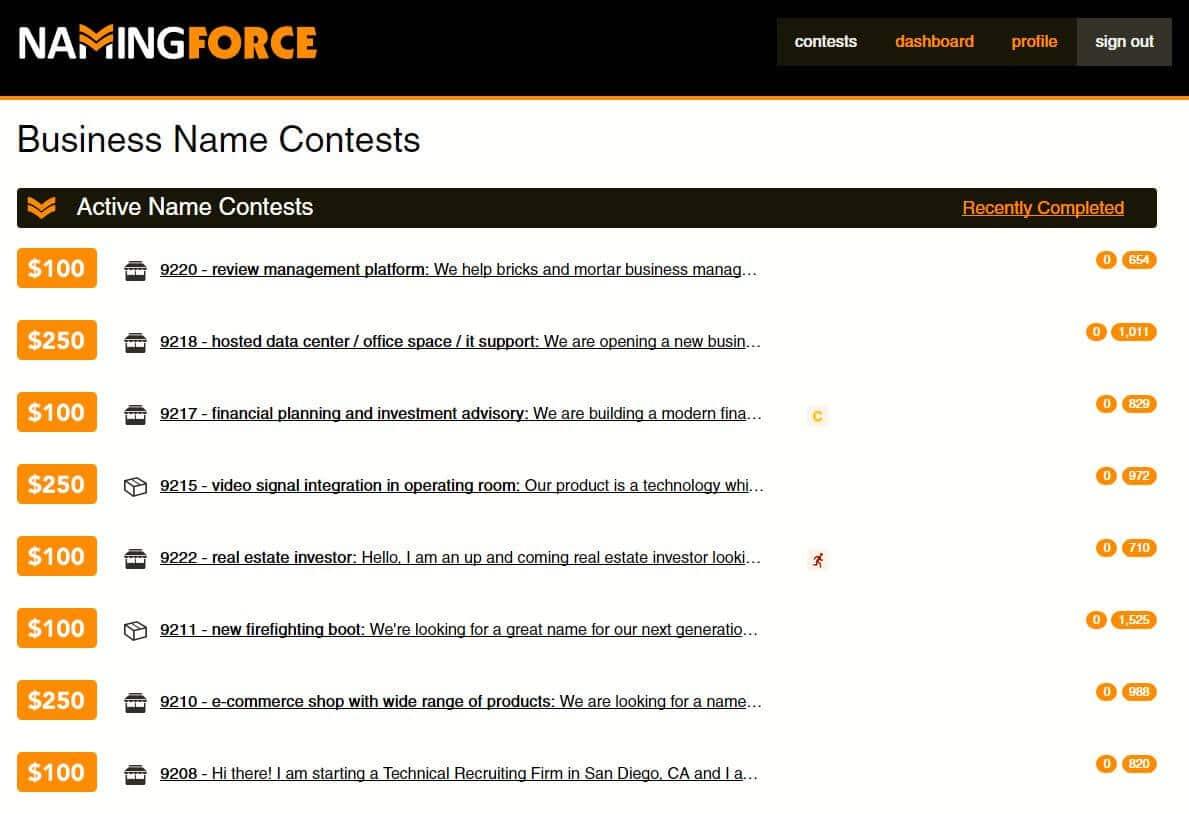 Naming Force Review - Contest Menu