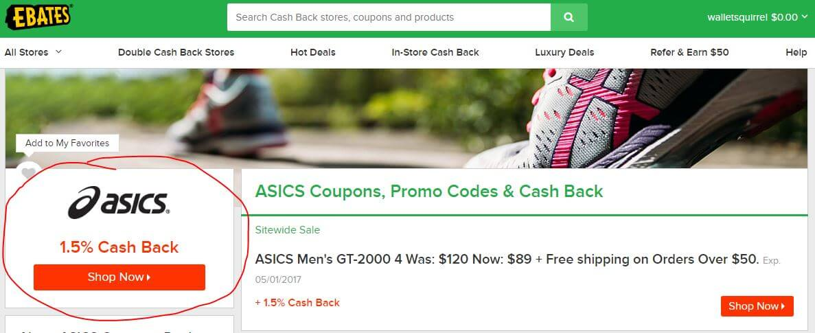 Ebates Review - Asics Page